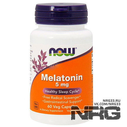 NOW Melatonin 5 mg, 60 кап